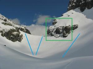 Злия прелез, където ще потренираме - в зелено е катерачния сектор, а сините линии маркират местата за спускане и самозадържане. снимка: http://photo-forum.net//index.php?APP_ACTION=USER_PROFILE&USER_ID=99