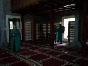 Временно спасение от жегата намерихме в джамията, Баня баши. На въпросът колко вход да платим дежурния младеж само ми се усмихна и ни махна да влизаме. Вътре намерихме касички за дарения.